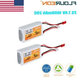 2 x 7.4V 1000mAh 2S 20C Li-po Battery JST for RC Helicopter