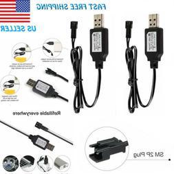 2pc 7.2V USB Battery Charger Cable SM 2P Plug For 2S RC Car