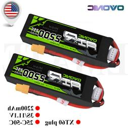 2X OVONIC 2200mah 3S 11.1V 25C Lipo Battery XT60 Plug RC Boa