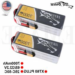 2X TATTU  25C 22.2V 6S 7000mAh Lipo Battery XT60 Plug for Pa