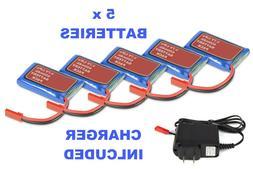 5pcs 3.7V 650mAh LiPo Battery JST Plug + Charger for RC Dron