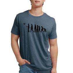 CafePress Drone Evolution Mens Tri Blend T Shirt Mens Tri-Bl