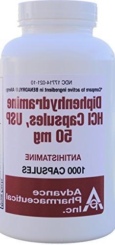 Diphenhydramine 50 mg Allergy Medicine Generic Benadryl 1000