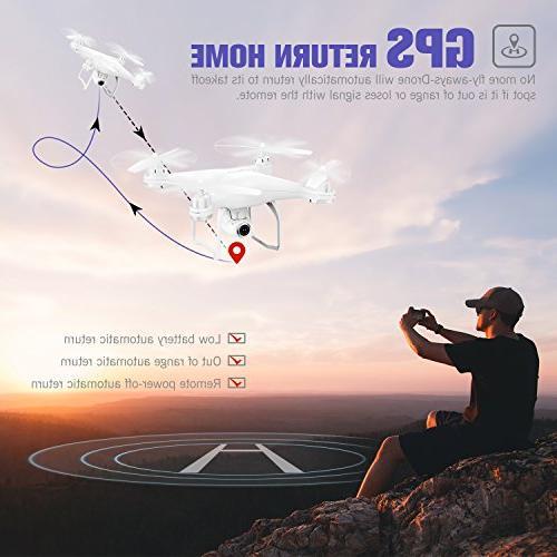 Potensic RC Drone Camera Live Video GPS Return Quadcopter Adjustable Wide-Angle 1080P WiFi Camera- Altitude Hold, Long Range