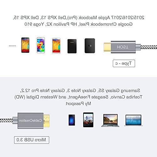 USB-C Micro-B , Braided Micro 3.1 C Cable, , Chromebook HDD External Hard Phones, 1M/Gray