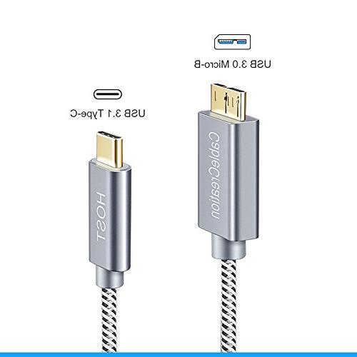 USB-C to , Braided Micro 3.1 C Cable, , Chromebook Pixel, HDD External Driver & Phones, 1M/Gray