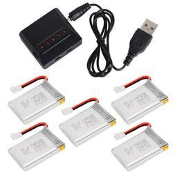 USB Charger + 5pcs 3.7V 25C 850mAh Li-Po Battery for Syma X5